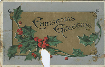 "Postcard reading ""Christmas greeting"" front"